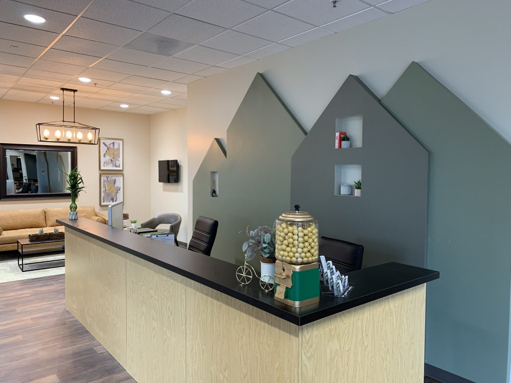 Reception desk at coworking denver south for women